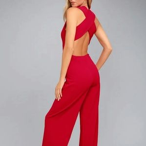 Lulu's Thinking Out Loud Backless Red Jumpsuit